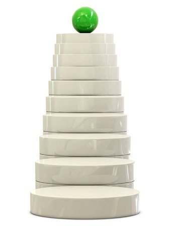 commissions: Stairs and green ball isolated on white background