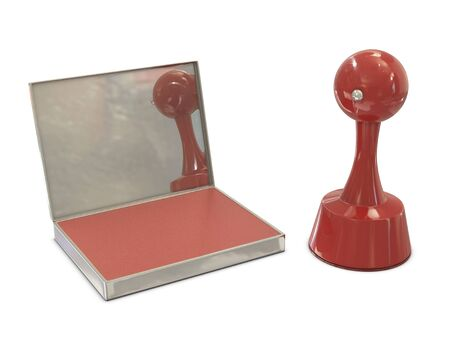 cylindrical: Rosso Stamper cilindrica con pad inchiostro isolato su sfondo bianco Archivio Fotografico