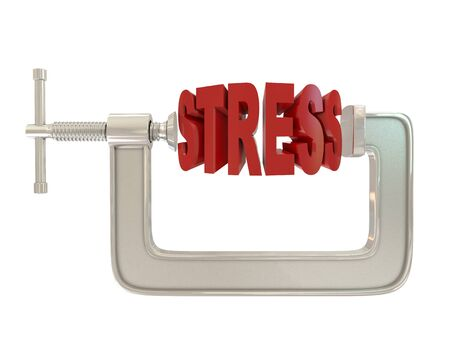 clamps: G clamp and text Stress isolated on white background