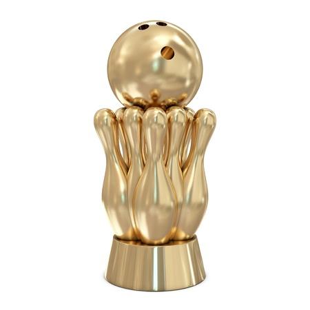 bolos: Trofeo de oro bowling aislada sobre fondo blanco Foto de archivo