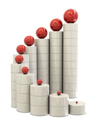 commissions: Spiral stairs and red balls isolated on white background Stock Photo