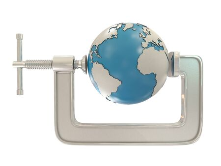 squeeze: G clamp and Earth isolated on white background Stock Photo