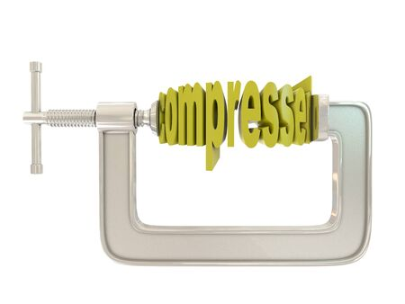 turn screw: G clamp and text compressed isolated on white background Stock Photo