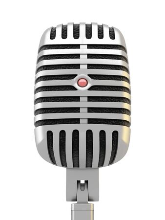 amplify: Silver metal microphone with red light on white background