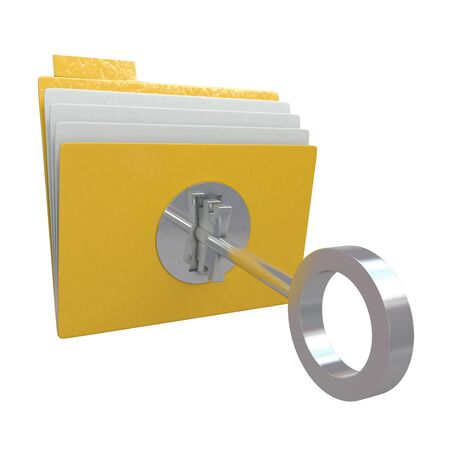 Folder with lock and key isolated on white background Stock Photo - 10634807