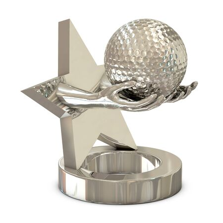 Silver trophy with star, hands and golf ball isolated on white background photo