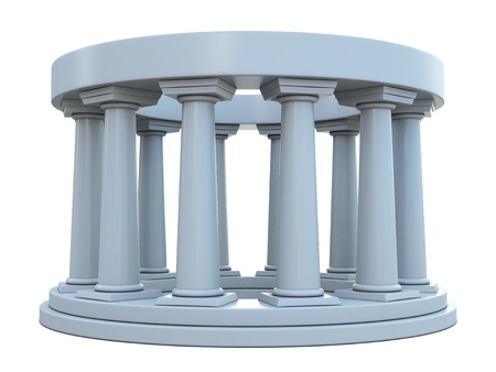 Ancient building with columns in ring isolated on white background photo