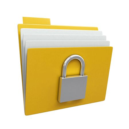 secure files: Folder with closed padlock isolated on white background