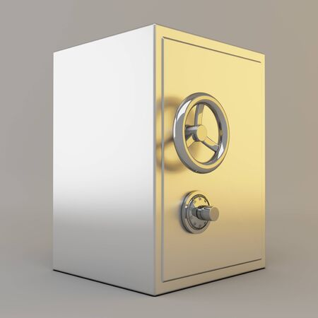 Silver safe with lock on gray background photo