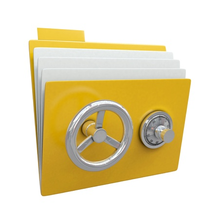 locked: Folder with safe lock isolated on white background