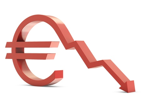 Euro sign with line down isolated on white background photo