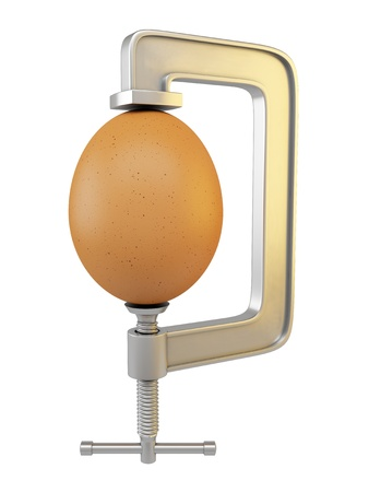 clamp: G clamp and egg isolated on white background