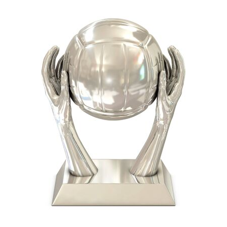 volley ball: Silver award trophy with hands and volley ball on white background Stock Photo