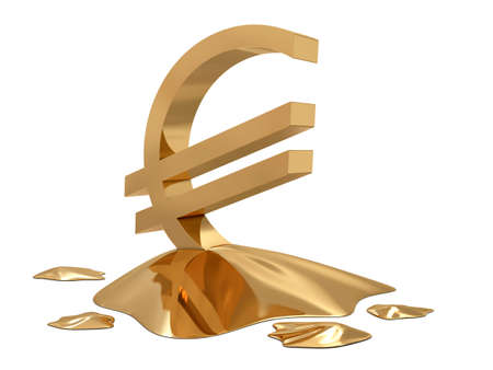 commissions: Euro sign golden melt isolated on white background Stock Photo