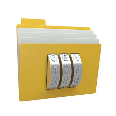 Folder and combination lock isolated on white background Stock Photo - 12932701