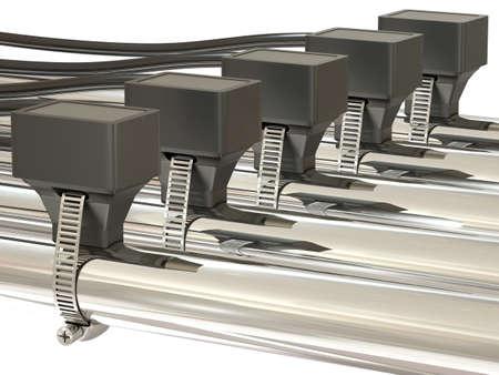 rising temperature: Group of temperature sensors on metal pipes Stock Photo