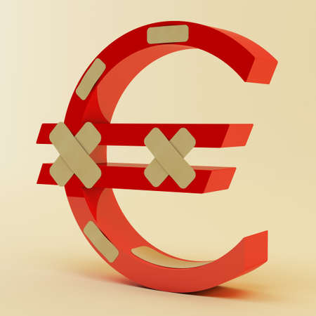 Abstract euro sign with bandage photo