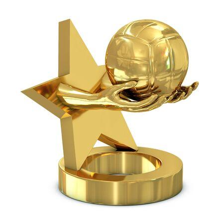 pelota de voley: Oro trofeo con estrellas, manos y voleibol aisladas sobre fondo blanco