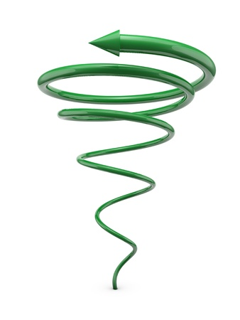 twist: Green spiral line with arrow isolated on white background Stock Photo