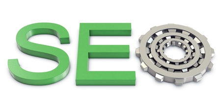 Green SEO text with silver gears photo