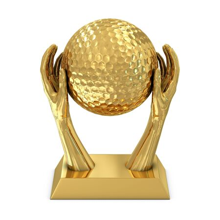 Golden award trophy with hands and golf ball isolated on white background photo