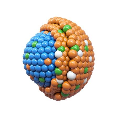 nanotechnology: Nano particles cross section on white background Stock Photo