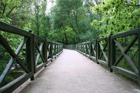A green,wooden bridge is in a forest on creek.Balikesir,Turkey