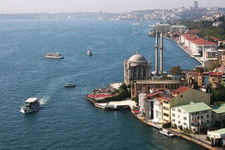 Buyuk Mecidiye Mosque in Ortakoy,Istanbul,Turkey Stock Photo