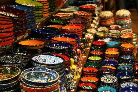 pottery: Colorful Ceramics From Spice Bazaar,Istanbul,Turkey