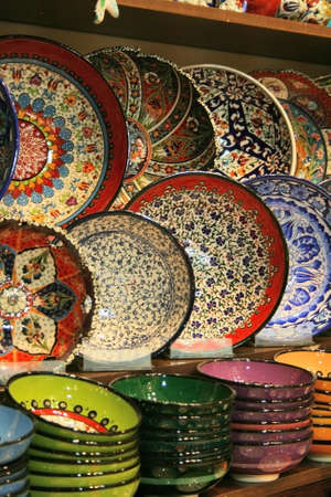 Colorful Plates From Egyptian Bazaar,Istanbul,Turkey