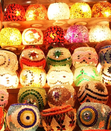 Colorful Candle Holders,Istanbul,Turkey Stock Photo