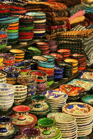 Colorful Ceramics Bowls From Spice Bazaar,Istanbul,Turkey