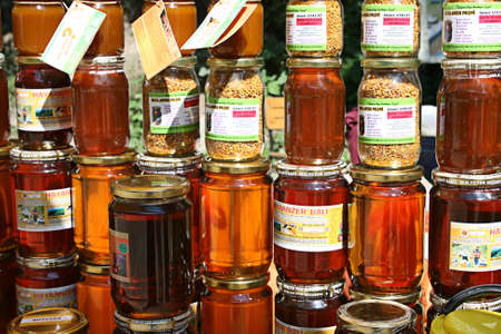 Rize,Turkey-September 07,2011:Organic Anzer honey and honey pollen in street shop. Stock Photo - 10970401