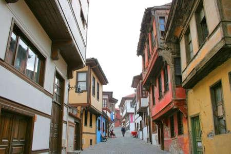 Eskisehir,Turkey-December 15,2010:Traditional Turkish Wooden Houses In Old Street