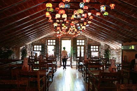 Kocaeli,Turkey-May 05,2011: An authentic cafe at penthouse in Kocaeli