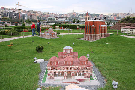 Istanbul,Turkey-October 01,2011:Miniature of Mosques and Churchs in Miniaturk (Miniature Park)