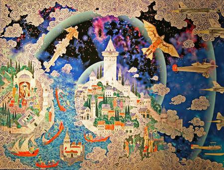 osmanisch: Istanbul, T�rkei-April 22,2012: Miniatur-Malerei von Istanbul im Museum der Geschichte der Wissenschaft und Technologie in Gulhane Park