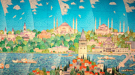 Istanbul,Turkey -April 22,2012:Miniature Painting  of Istanbul In  Museum of The History of Science and Technology in Gulhane Park Editorial