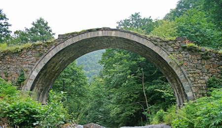 bridge in the forest: Historical Stone Arch Bridge in Black Sea Region Of Turkey