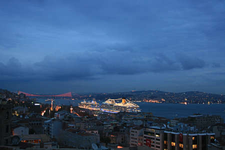 istanbul night: Istanbul And Bosphorus At Evening
