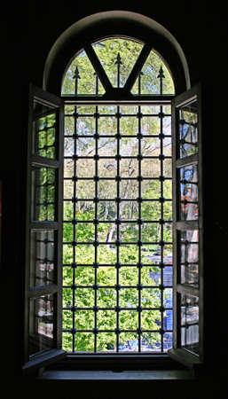 Istanbul,Turkey-May 05 2012:A classical window from dark to light  in Gulhane Park Editorial