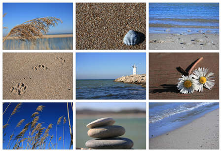 on cloud nine: Sea And Beach Concept-Collage,Black Sea-Istanbul Stock Photo