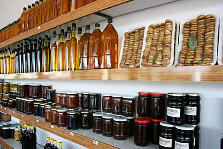 jams: Balikesir,Turkey-October 08,2012:Olive Oils,Honeys and Jams in Organic Products Shop