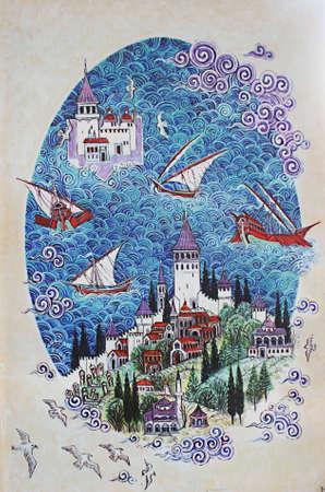 rękopis: Istanbul, Turkey-November 12,2012: Miniature Malarstwa Maiden Tower Publikacyjne
