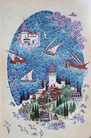 Istanbul,Turkey-November 12,2012:Miniature Painting Of The Maiden Tower