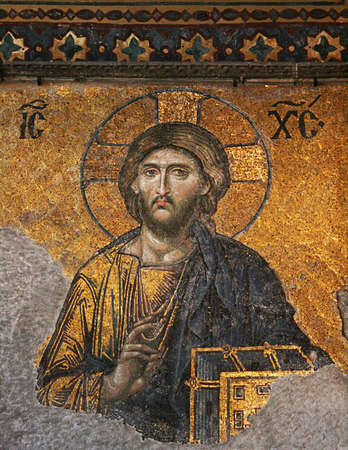 Istanbul,Turkey-December 7,2012:Mosaic of Jesus Christ in Hagia Sophia Stock Photo - 17055670