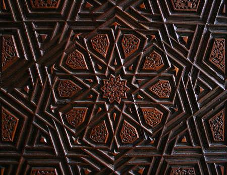 Old Turkish Wood Art on Door of Topkapi Palace Stock Photo