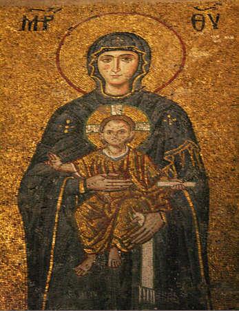 Istanbul,Turkey-December 30,2012:Mosaic of Jesus Christ in Hagia Sophia Stock Photo - 17437194