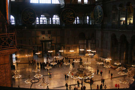 Istanbul,Turkey-December 30,2012:Interior of Hagia Sophia Museum