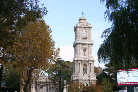 Istanbul,Turkey-October 7,2012:Clock Tower of Dolmabahce Palace